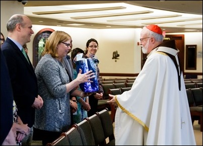 Cardinal O'Malley celebrates a farewell Mass for Superintendent of Catholic Schools Kathy Mears in the Pastoral Center Chapel May 24, 2019. Pilot photo/ Jacqueline Tetrault